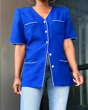 Cobalt Blue Blouse w/ White Piping