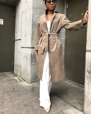 Tan Suede Belted Trench