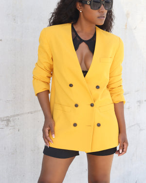 Double-Breasted Marigold Blazer