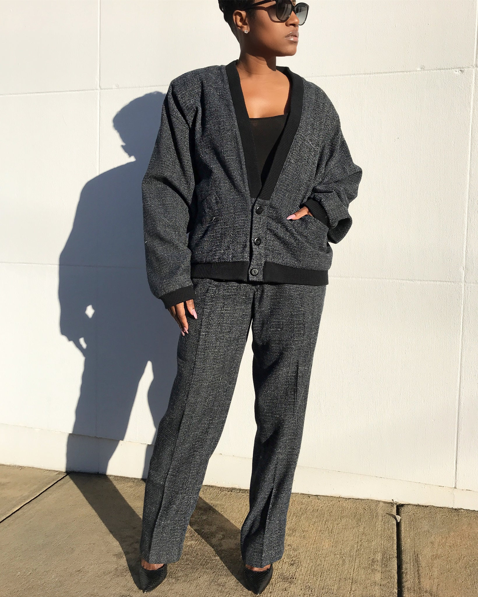 Leisure Suit Cardigan and Trousers Set