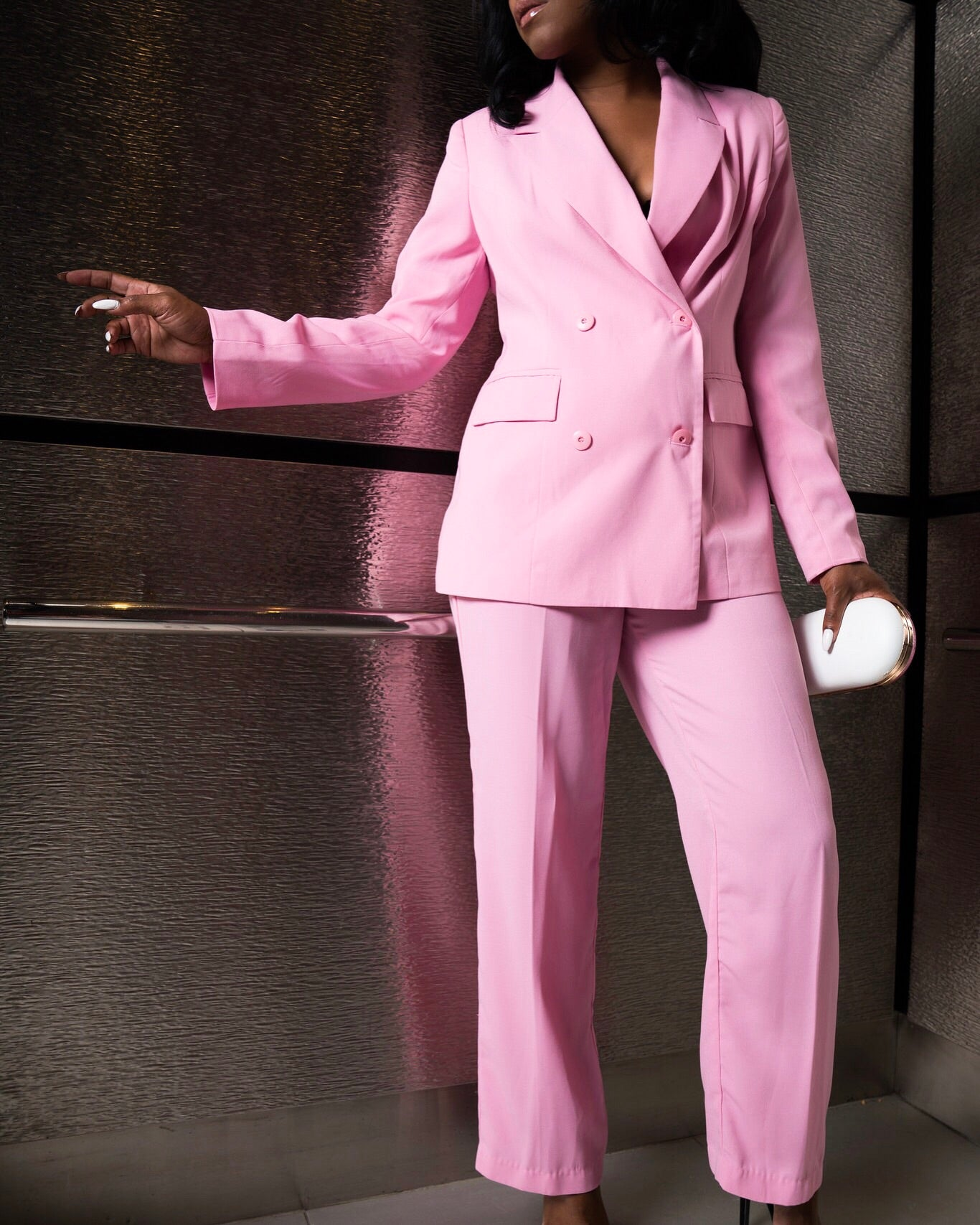 Pink Double-Breasted Suit