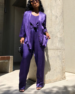 Violet Two-Piece Sateen Set