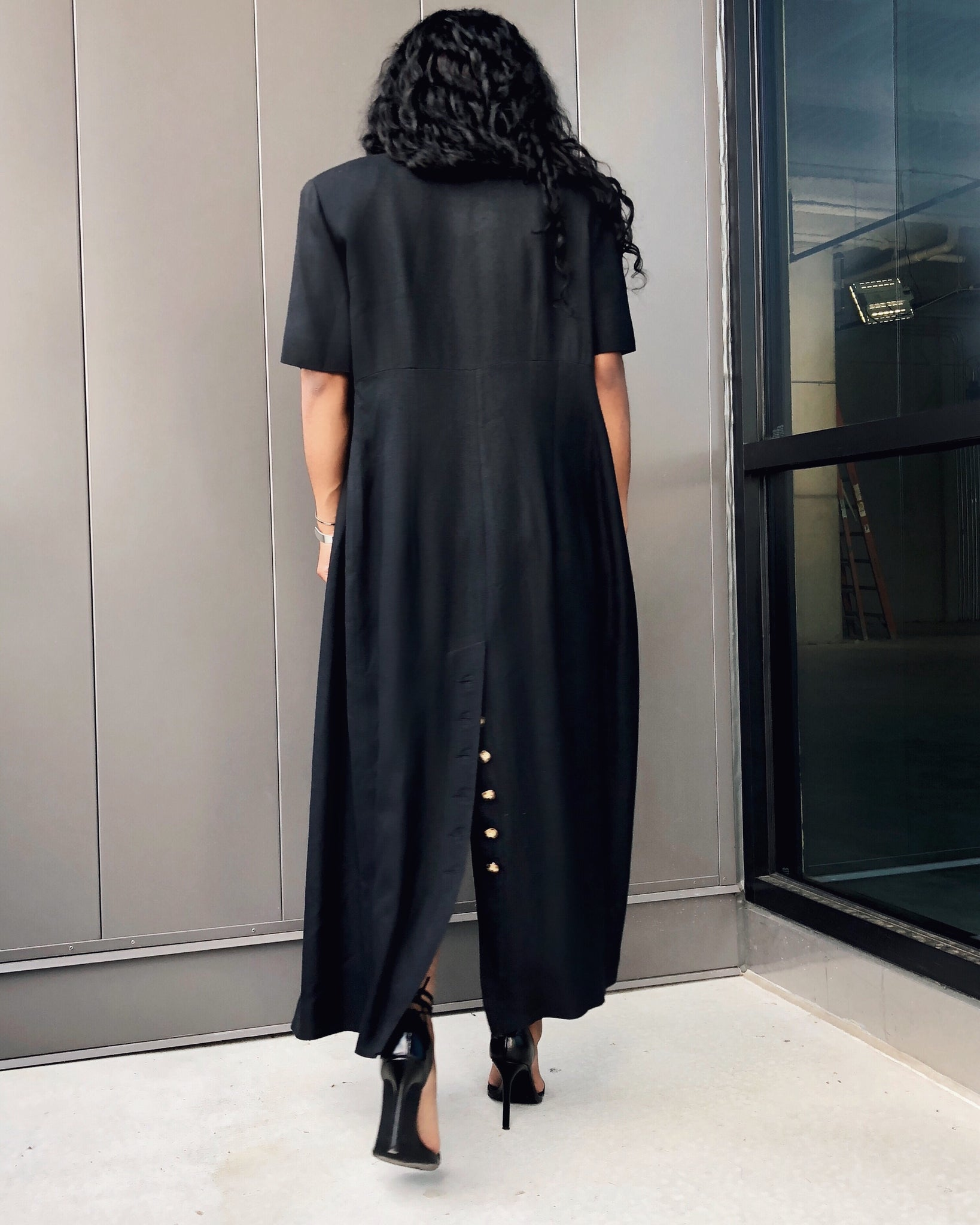 Black Linen Duster w/ Sea Shell Buttons