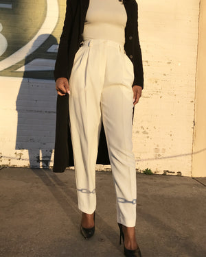 Cream High-Waist Pants