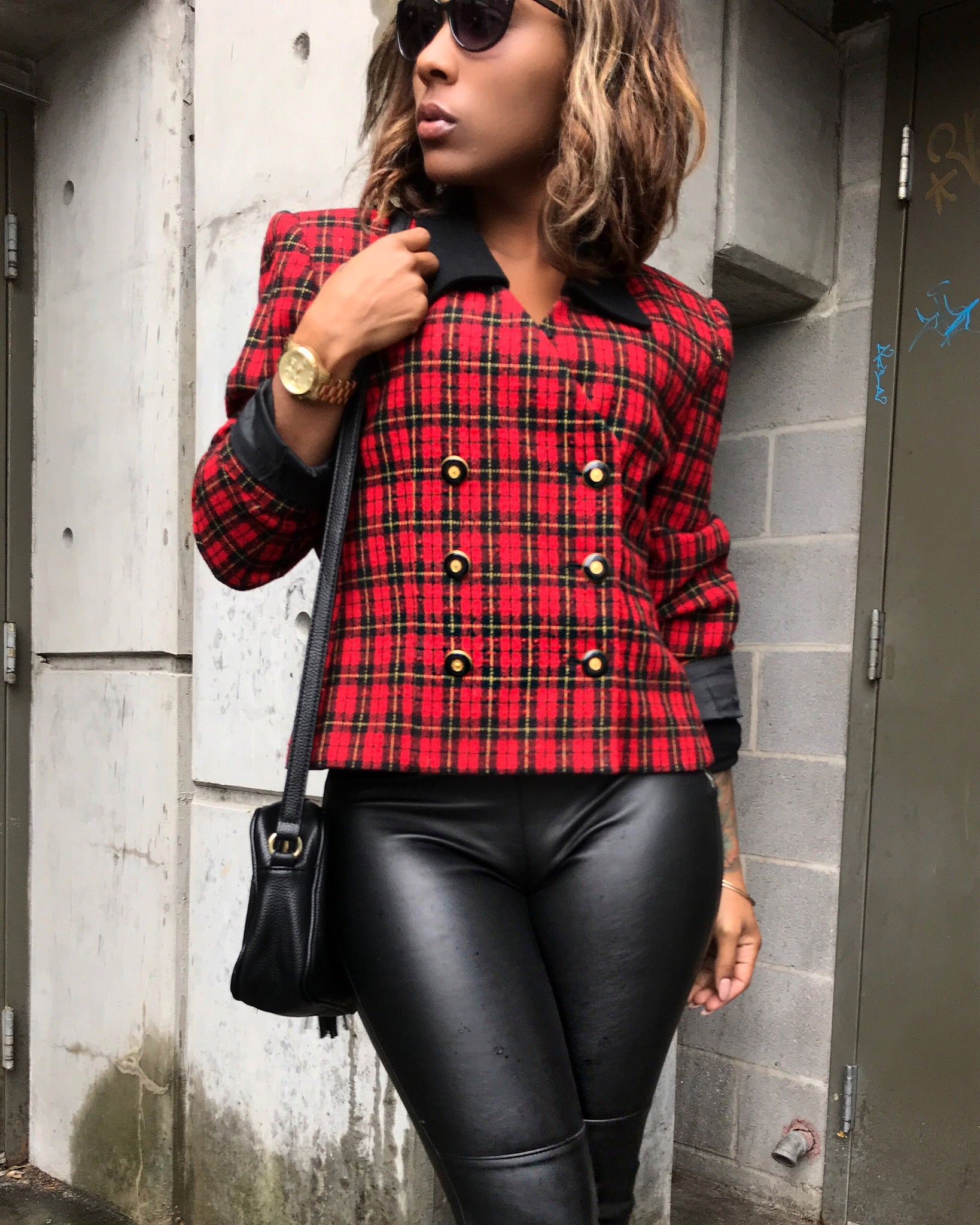 Classic Plaid Double Breasted Jacket
