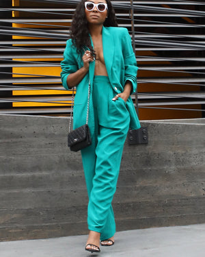 100% Silk Teal Suit