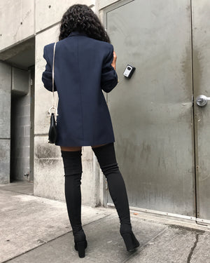 Navy Double-Breasted Blazer/Dress w/ Gold Accent Buttons