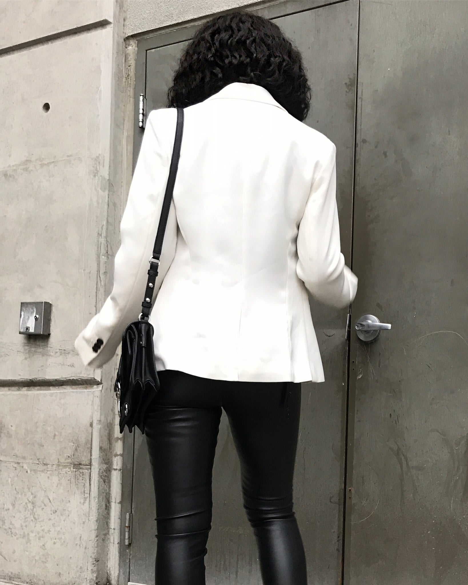 Eggshell White and Black Contrasting Blazer