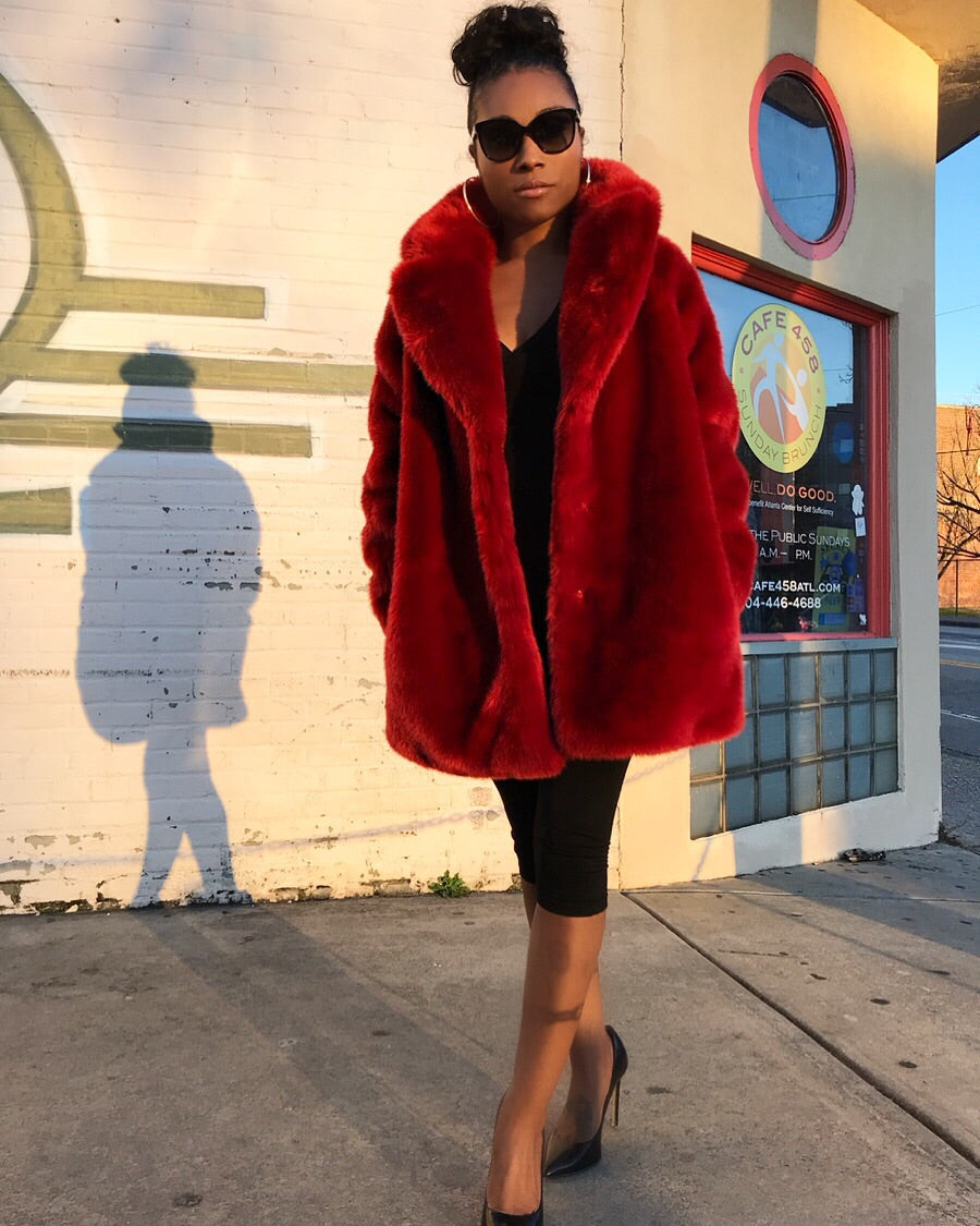 Crimson Red Faux Fur Overcoat