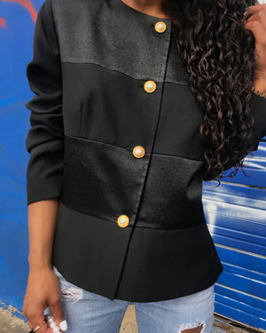 Black Satin and Matte Blazer w/ Pearl Buttons