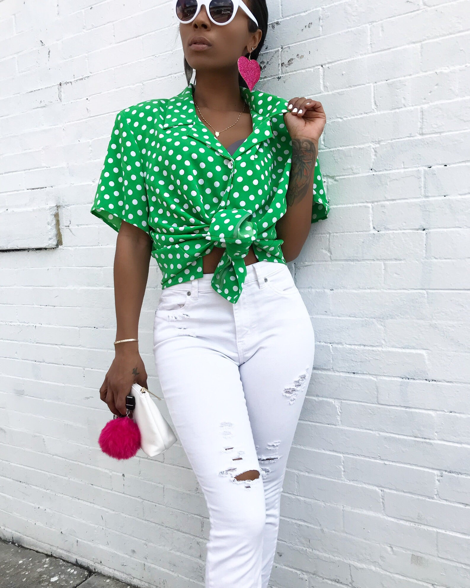 Green and White Polka Dot Blouse