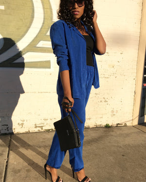 Electric Blue Micro Sueded Suit