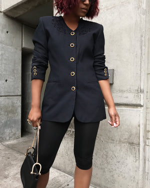 Black Blazer w/ Brocade and Accent Buttons