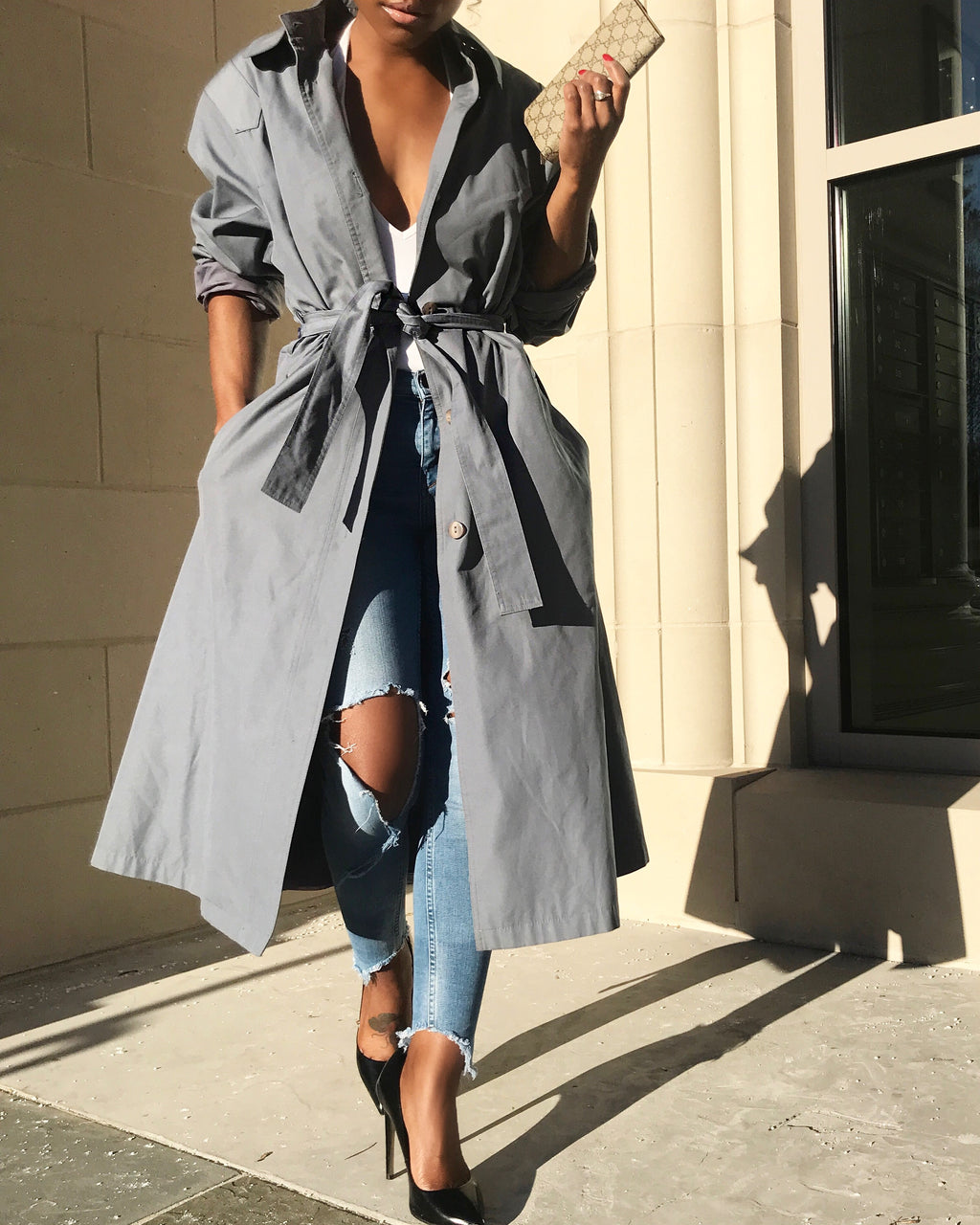 Blue-Gray Belted Trench Coat