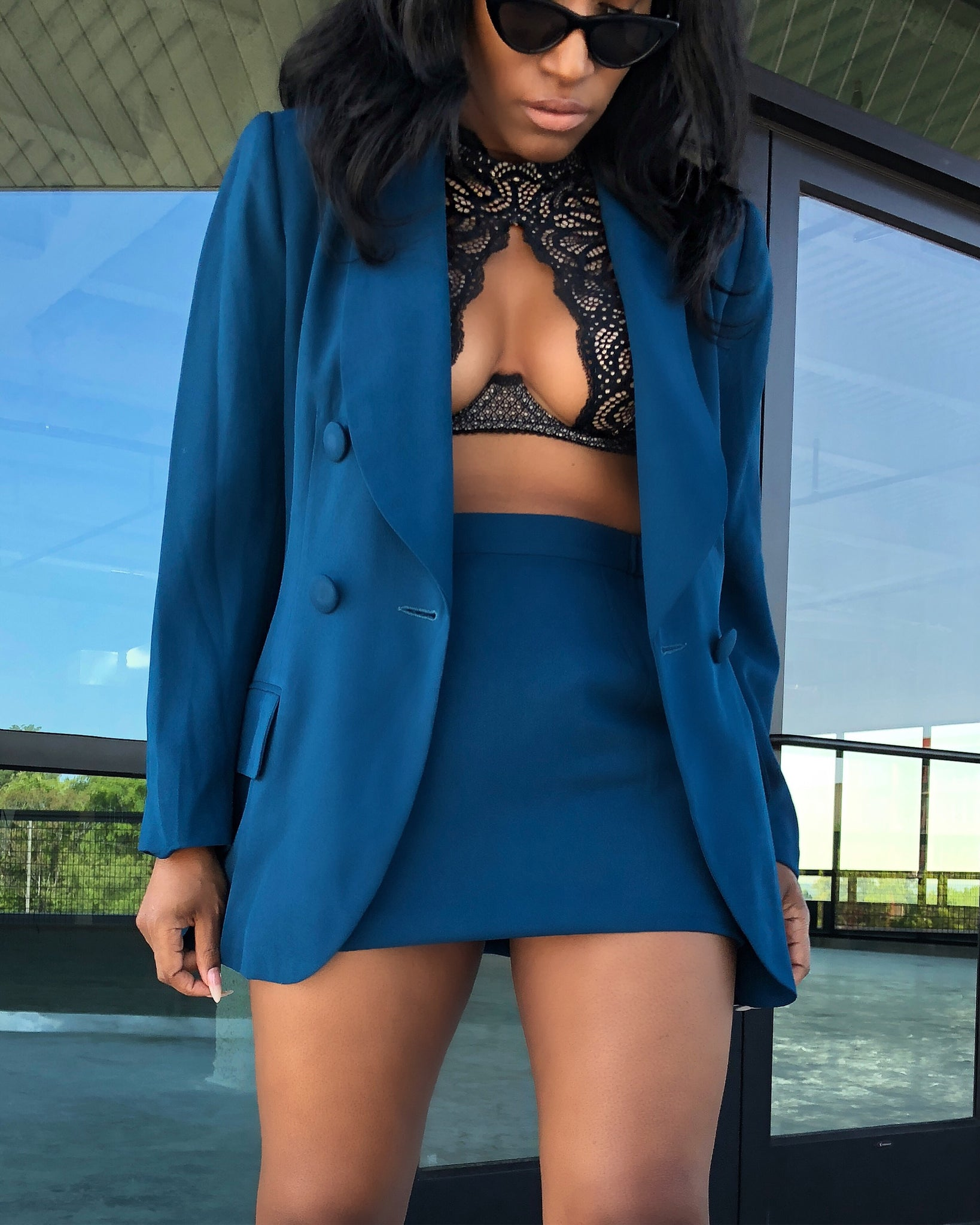 Azure Blue Double-Breasted Skirt Suit