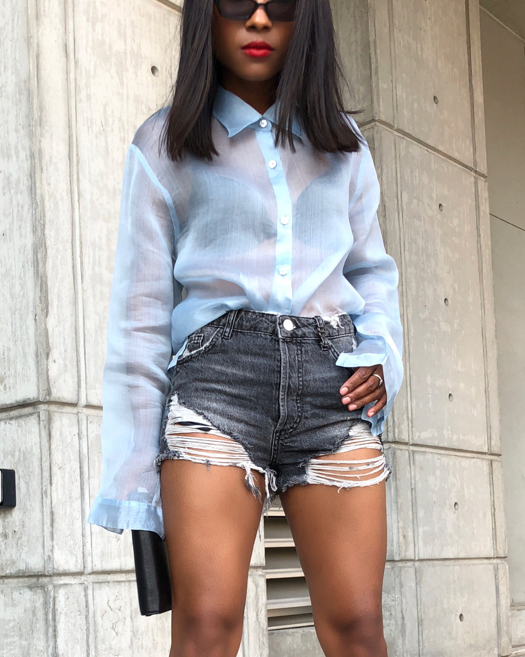 Baby Blue Sheer Button Down Blouse