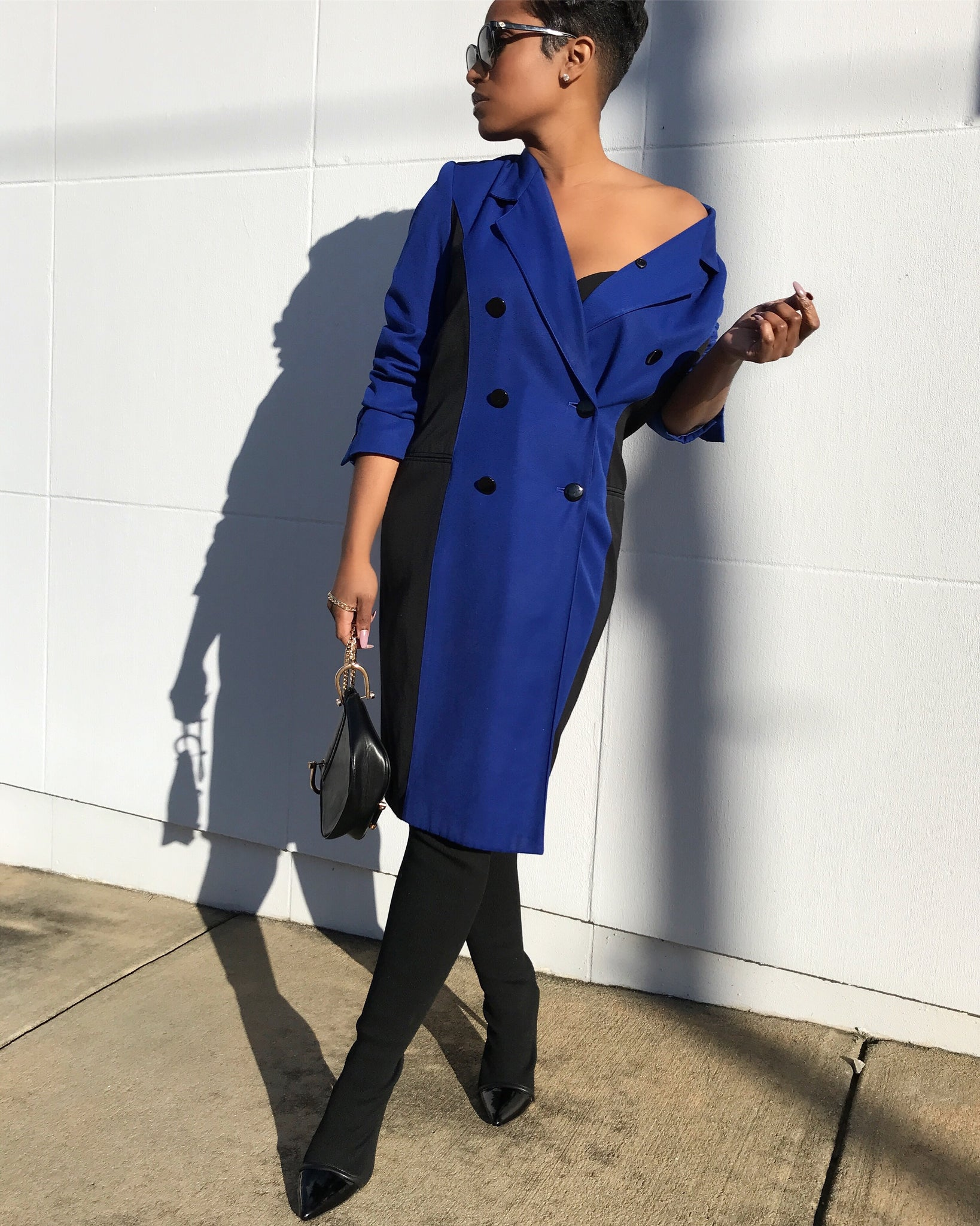 Electric Blue and Black Contrasting Double-Breasted Blazer Dress
