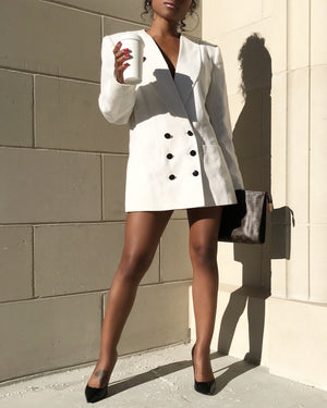 Little White Double-Breasted Blazer Dress