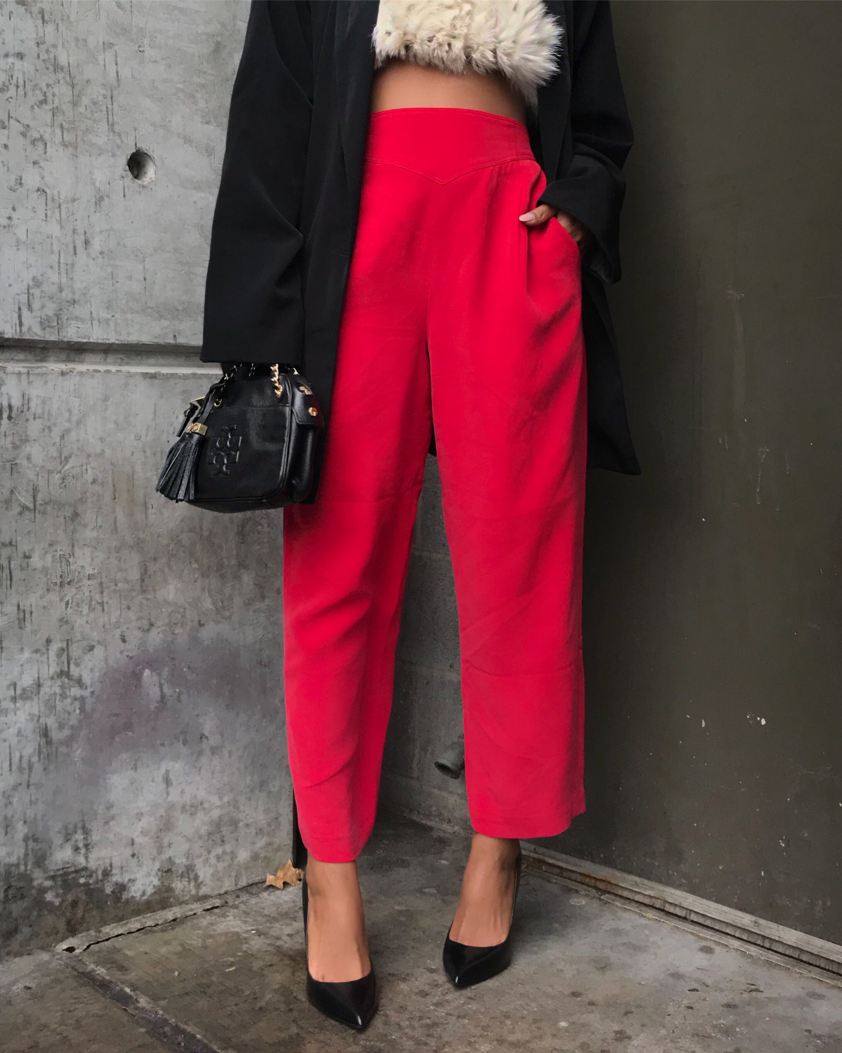 100% Silk Candy Apple Red Trousers