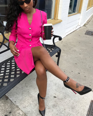 Fuchsia Button Up Dress