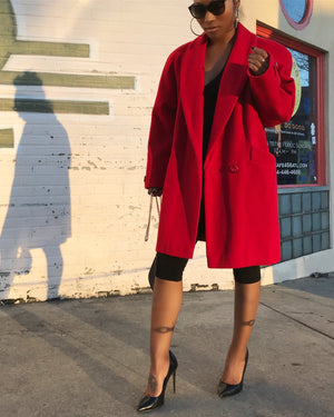 100% Wool Cherry Red Overcoat