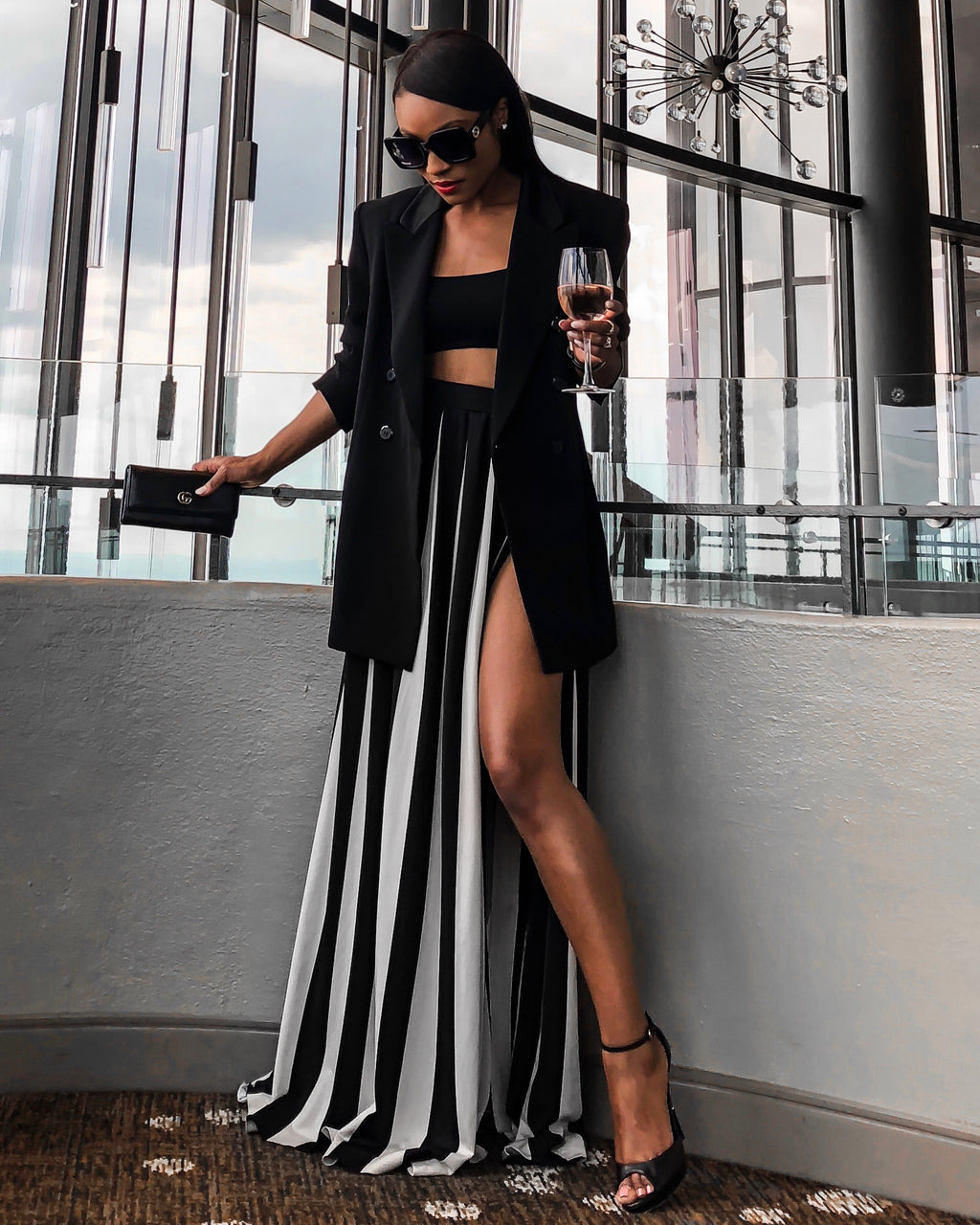 White and Black Stripe High Split Maxi Skirt