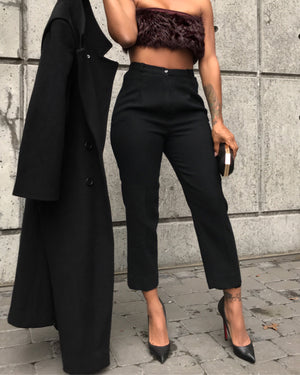 Black Wool Cropped High-Waist Pants