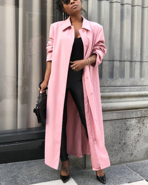 Rose Pink Duster Trench Coat