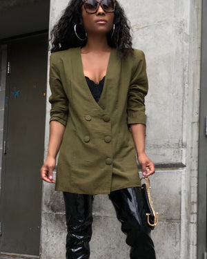 Army Green Double-Breasted Lightweight Blazer