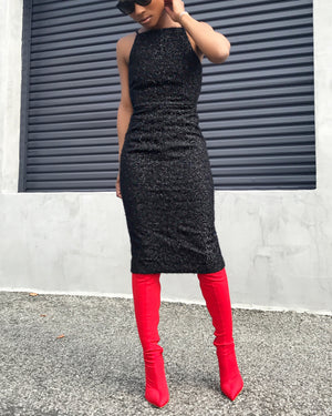 Black Fuzzy Sparkle Pencil Dress