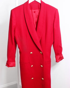 Red Double Breasted Blazer Dress Coat