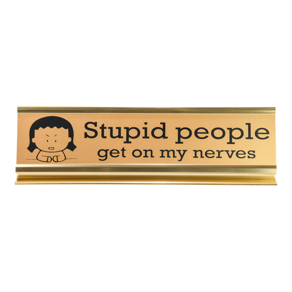 Desk Plaque: Stupid People Get on my Nerves