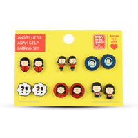 Angry Little Asian Girl Set of 6 earrings