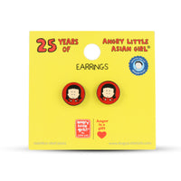 Angry Little Asian Girl red circle earrings