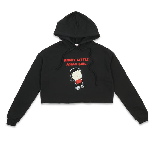 Angry Little Asian Girl ladies crop hoodie sweatshirt