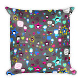 Gray Pattern Square Pillow