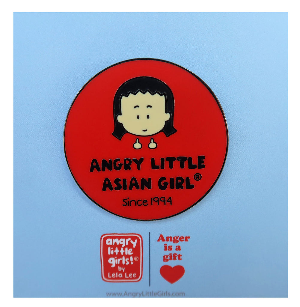 Angry Little Asian Girl Pin