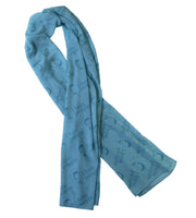 "Long Crepe Blue Scarf ""I hate people"""