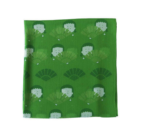 "Long Crepe Green Scarf ""ALAG fan"""