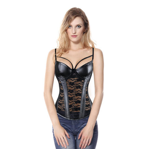Sexy Gothic Faux Leather Foral Lace Corset