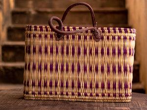 'Zagora' Shopping Basket - With Magenta