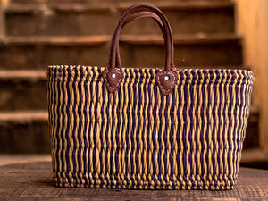 'Zagora' Shopper Basket - Purple Stripes