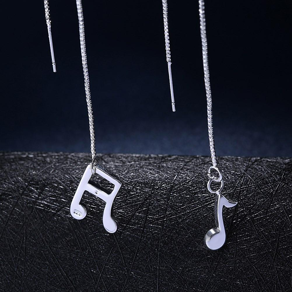 Earrings - Musical Notes Earring In White Gold Plated Brass