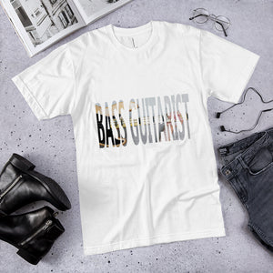 BASS GUITARIST lettering with photo of bass guitar showing through T-Shirt