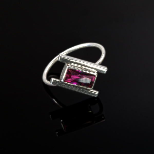 Sterling silver Artemis ring with ruby by Rouaida.