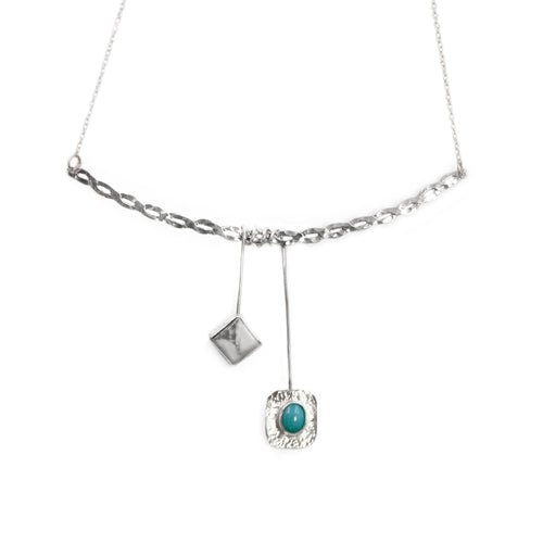 Athena necklace in sterling silver with amazonite and howlite stones by Rouaida.
