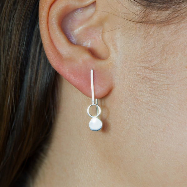 Sterling silver Binary earrings by Rouaida.