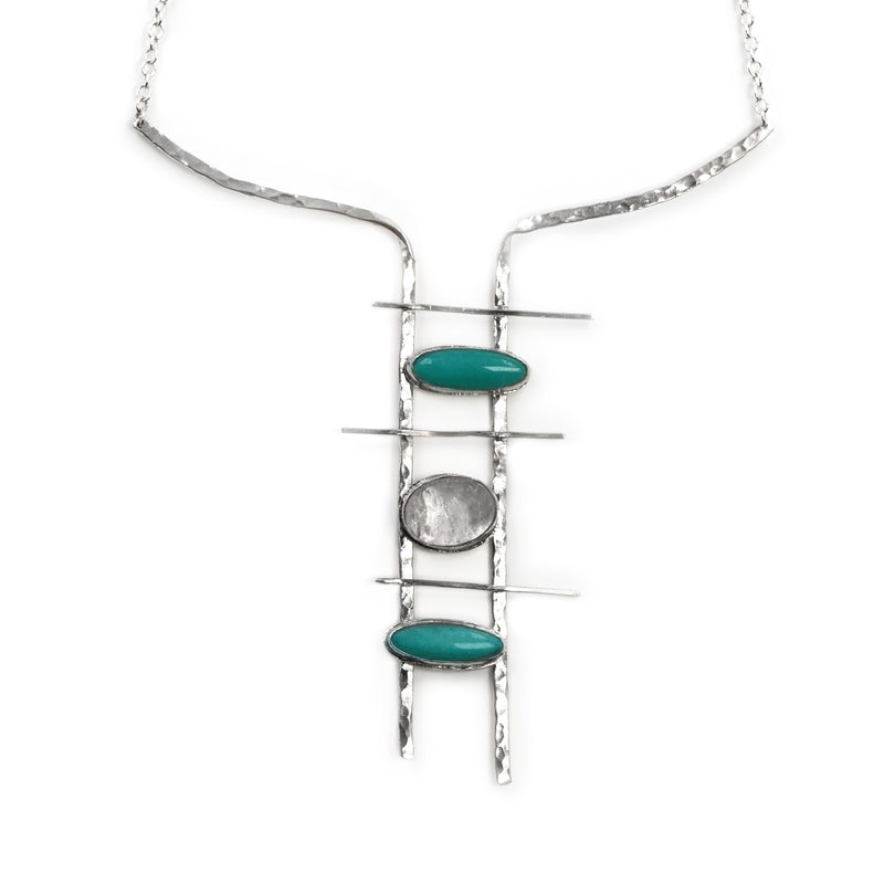 Byblos necklace in sterling silver with amazonite and crystal quartz stones by Rouaida.