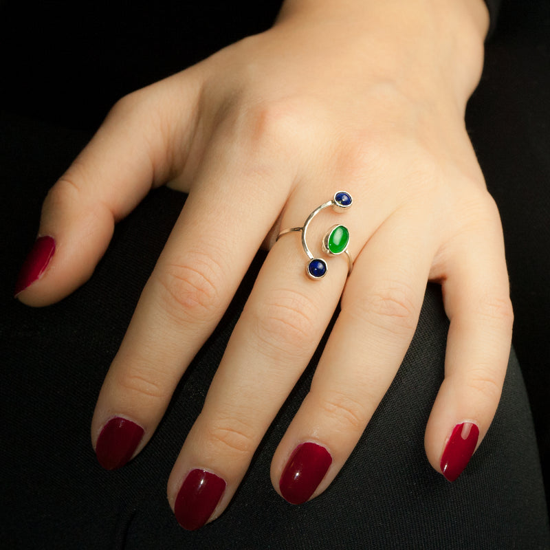 Sterling silver Constellation ring by Rouaida on model's hand.