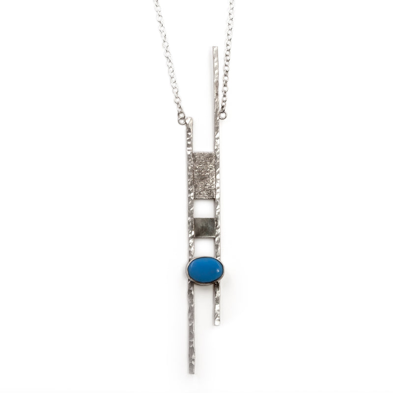 Sterling silver Corinthian necklace with chalcedony stone by Rouaida.
